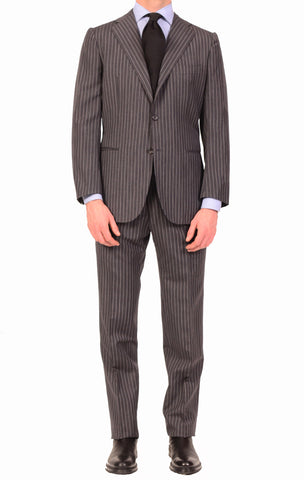 KITON Napoli Hand Made Gray Striped Cashmere Wool Suit EU 47 NEW 36 38 R9 Slim - SARTORIALE - 1