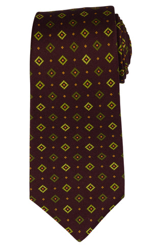 KITON Napoli Hand Made Seven Fold Brown Silk Square Medallion Tie NEW - SARTORIALE - 1