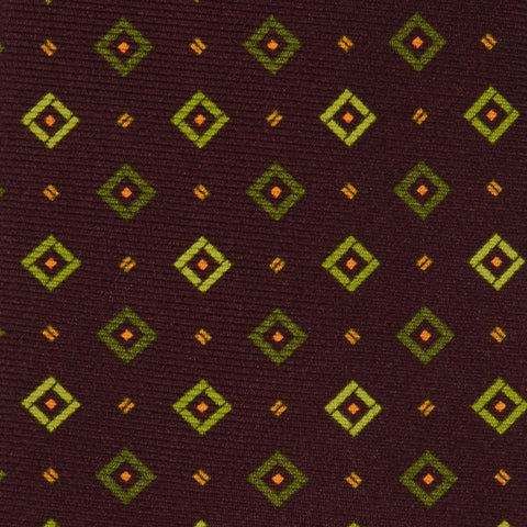 KITON Napoli Hand Made Seven Fold Brown Silk Square Medallion Tie NEW - SARTORIALE - 4