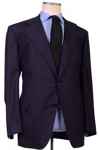 KITON Napoli Hand Made Solid Navy Blue Wool Suit NEW Big & Tall Large Size - SARTORIALE - 1