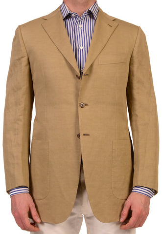 KITON Napoli Hand Made Solid Tan Linen-Cotton Blazer Jacket 38 40 NEW 50 R7 - SARTORIALE - 1