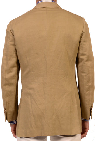 KITON Napoli Hand Made Solid Tan Linen-Cotton Blazer Jacket 38 40 NEW 50 R7 - SARTORIALE - 2