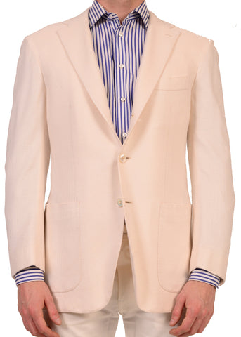 KITON Napoli Hand Made White Silk Blazer Jacket US 38 40 NEW EU 50 R7 - SARTORIALE - 1