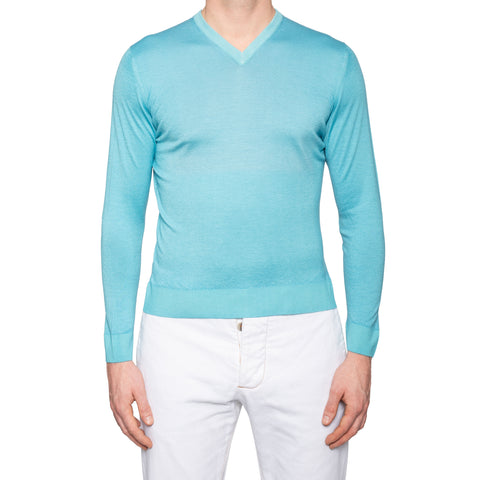 KITON Napoli Azure Blue Cashmere-Silk V-Neck Sweater EU 48 NEW US S