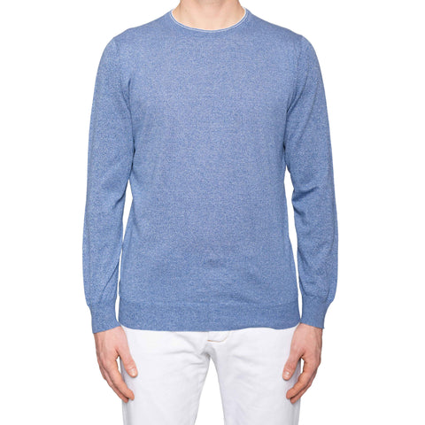 KITON Napoli Handmade Blue Cotton Crewneck Sweater EU 50 NEW US M