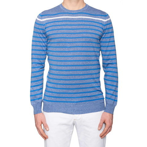 KITON Napoli Blue Striped Cotton Crewneck Sweater EU 50 NEW US M