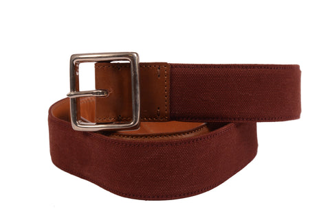 KITON Napoli Handmade Brown Canvas-Calf Leather Casual Belt NEW With Box - SARTORIALE - 1
