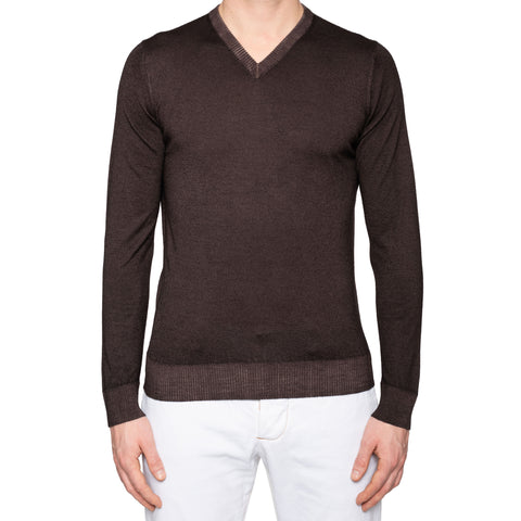 KITON Napoli Handmade Brown Cashmere V-Neck Sweater EU 50 NEW US M