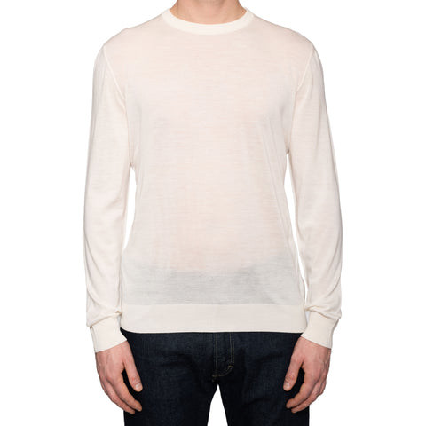 KITON Napoli Ivory Wool Crewneck Sweater EU 52 NEW US L