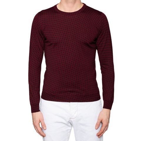 KITON Napoli Handmade Burgundy Plaid Cashmere-Silk Crewneck Sweater 50 NEW US M