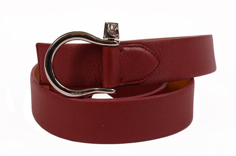 "KITON Handmade Crimson Scotch Grain Calf Equestrian Belt 95cm 38"" NEW With Box - SARTORIALE - 1"