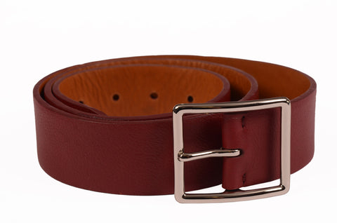 "KITON Handmade Crimson Scotch Grain Leather Dress Belt 95 cm 38"" NEW With Box - SARTORIALE - 2"