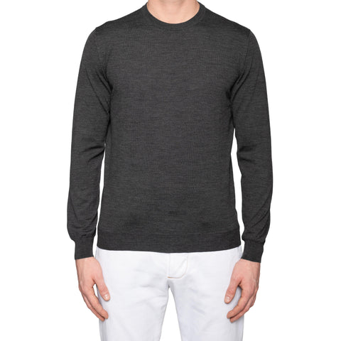 KITON Napoli Handmade Dark Gray Wool Knit Crewneck Sweater NEW