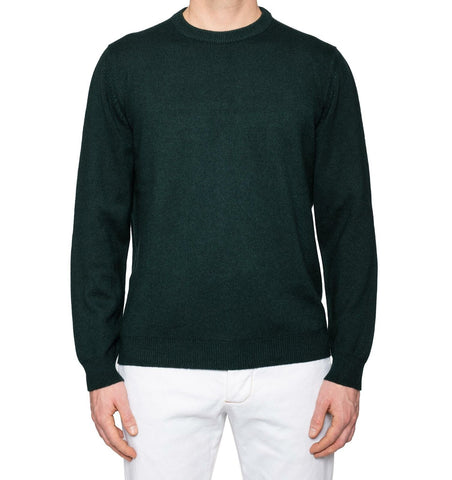 KITON Napoli Handmade Dark Green Cashmere Knit Crewneck Sweater EU 52 NEW US L