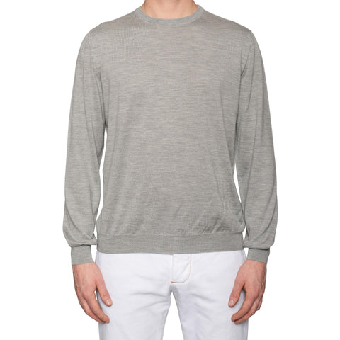 KITON Napoli Handmade Gray Cashmere-Silk Crewneck Sweater EU 52 NEW US L