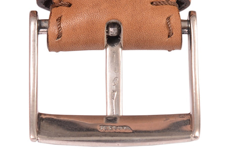 KITON Brown Hand-Stitched Leather Sterling Silver Buckle Dress Belt NEW With Box - SARTORIALE - 2