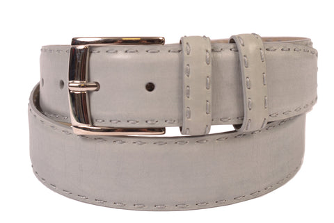 KITON Napoli Light Gray Hand-Stitched Calf Leather Dress Belt NEW With Box - SARTORIALE - 1