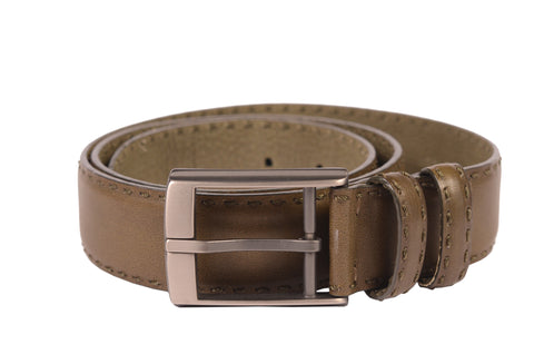 "KITON Napoli Green Hand-Stitched Calf Leather Casual Belt 90 cm 36"" NEW With Box - SARTORIALE - 2"