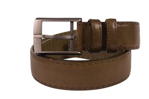 "KITON Napoli Green Hand-Stitched Calf Leather Casual Belt 90 cm 36"" NEW With Box - SARTORIALE - 1"
