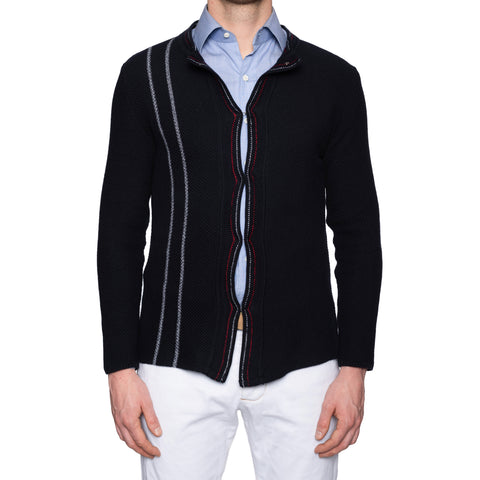 KITON Napoli Handmade Navy Blue Cotton Knit Cardigan Sweater EU 50 NEW US M