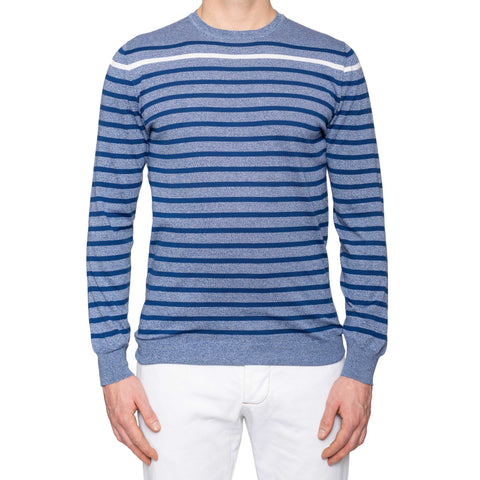 KITON Napoli Navy Blue Striped Cotton Crewneck Sweater EU 50 NEW US M
