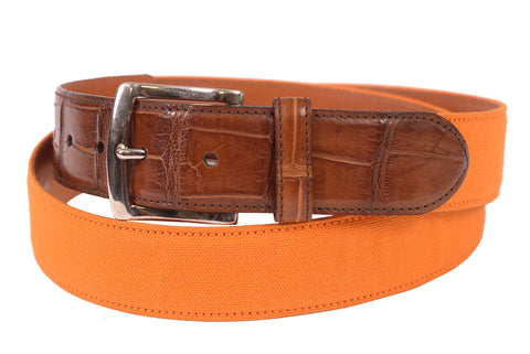 KITON Napoli Handmade Orange Alligator Leather-Canvas Casual Belt NEW With Box - SARTORIALE - 1