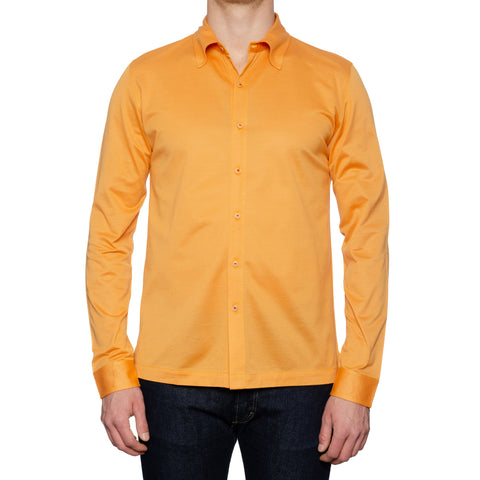 KITON Napoli Handmade Orange Cotton Pique Casual Shirt EU 54 NEW US XL