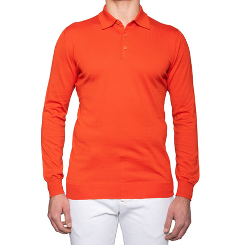KITON Napoli Handmade Orange Cotton Polo Sweater EU 52 NEW US L