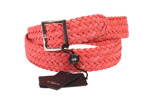 KITON Napoli Handmade Pink Woven Genuine Calf Leather Casual Belt NEW With Box - SARTORIALE - 1