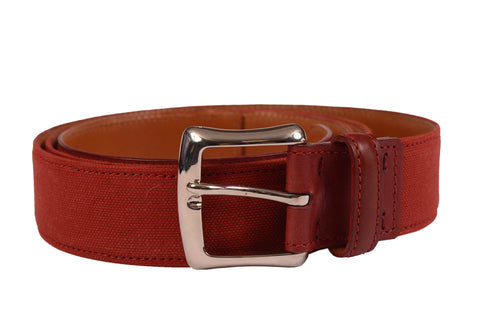 "KITON Handmade Red Canvas-Calf Leather Casual Belt 115 cm 46"" NEW With Box - SARTORIALE - 2"