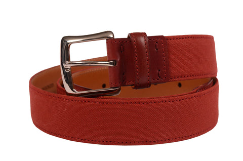 "KITON Handmade Red Canvas-Calf Leather Casual Belt 115 cm 46"" NEW With Box - SARTORIALE - 1"