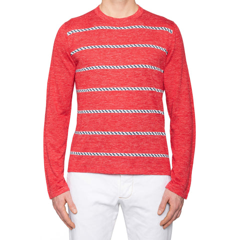 KITON Napoli Red Striped Silk-Linen Crewneck Sweater EU 50 NEW US M