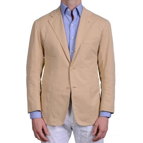 KITON Napoli Handmade Tan Cotton Twill Blazer Jacket EU 50 US 40