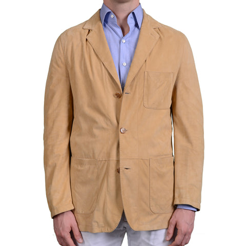 KITON Napoli Handmade Tan Suede Leather Unlined Jacket EU 50 US 40