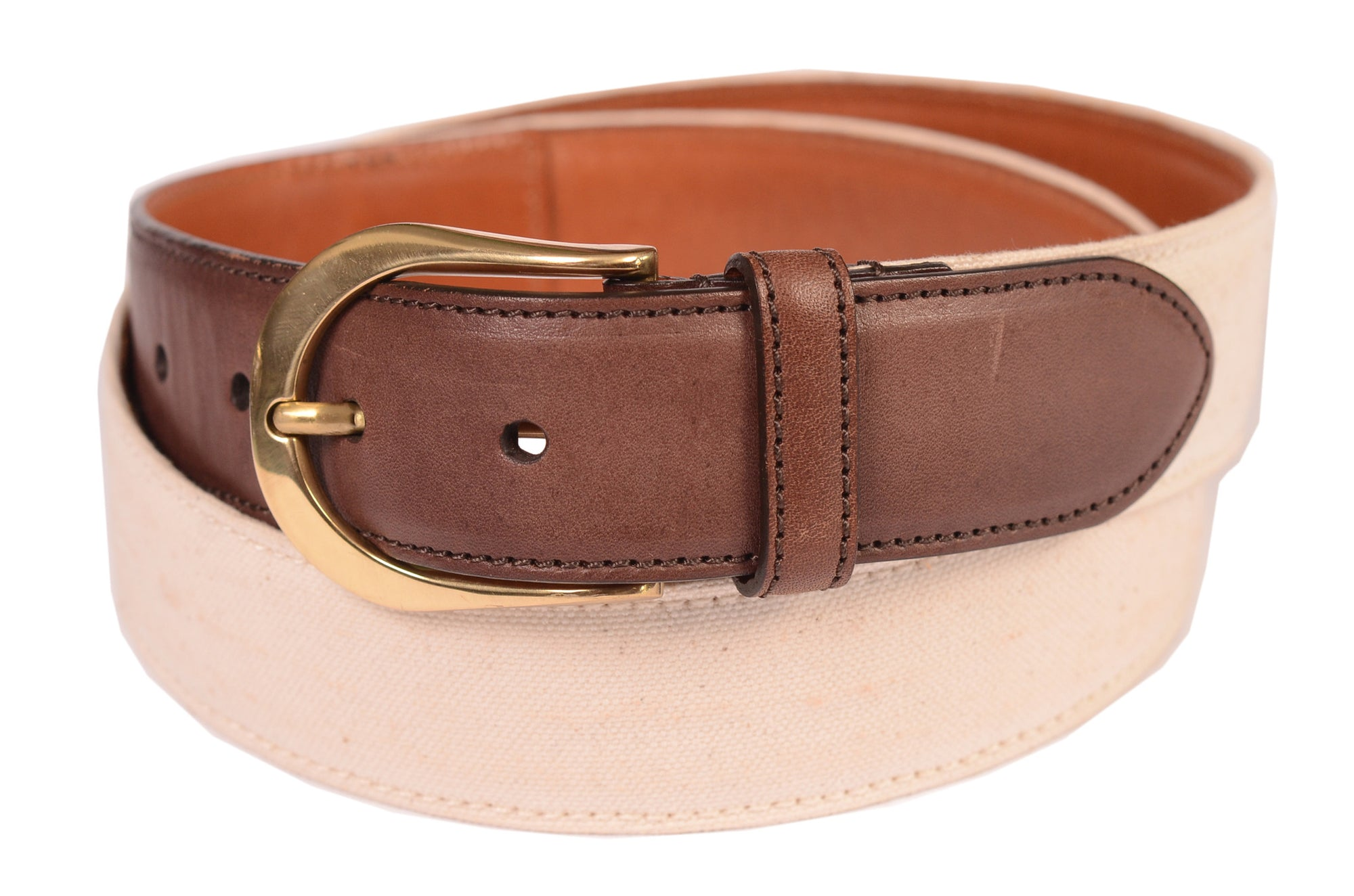 KITON Napoli Handmade White-Brown Canvas-Leather Casual Belt NEW
