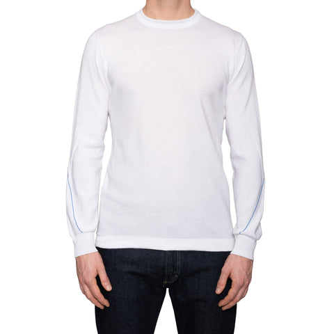 KITON Napoli Handmade White Cotton Crewneck Sweater EU 50 NEW US M