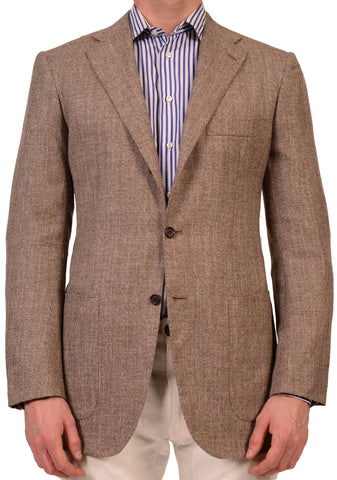 KITON Napoli Light Brown Cashmere-Linen-Silk Jacket SportCoat US 38 NEW EU 49 R7 - SARTORIALE - 1