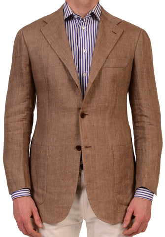 KITON Napoli Light Brown Herringbone Linen Blazer Jacket US 38 NEW EU 48 - SARTORIALE - 1
