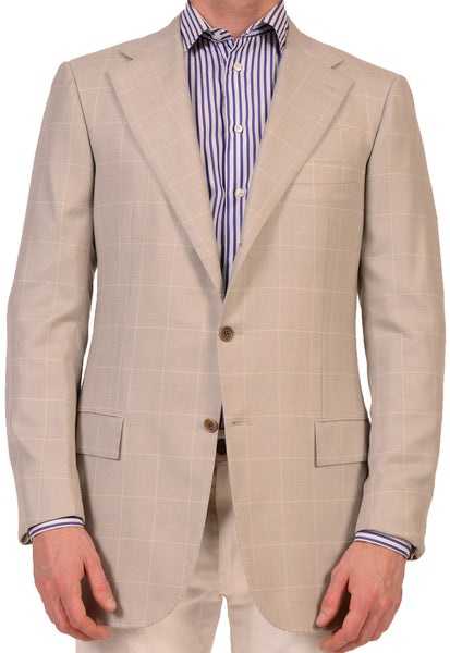 KITON Napoli Light Gray Glen Plaid with Overplaid Cashmere Jacket NEW L8 Long - SARTORIALE - 1