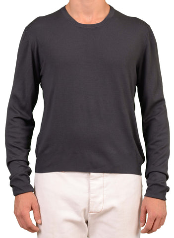 KITON Napoli Made In Italy Antracite Wool 14 Micron Jemala Crewneck Sweater NEW - SARTORIALE - 1