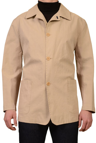 KITON Napoli Made In Italy Beige Cotton Blend Unlined Jacket Coat EU 50 US 40