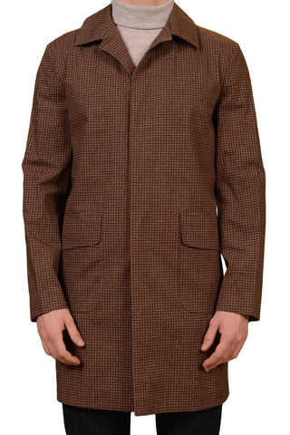 KITON Napoli CIPA 1960 Brown Houndstooth Cotton Unlined Jacket Coat 48 NEW US 38