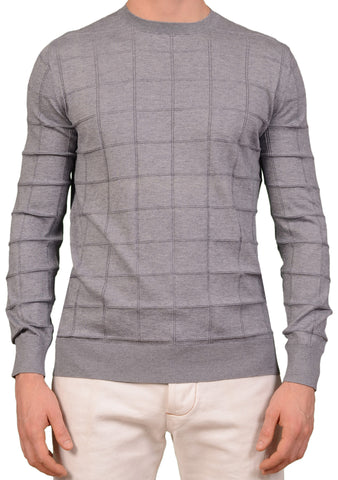 KITON Napoli Hand Made Gray Plaid Cotton Cashmere Crewneck Sweater NEW
