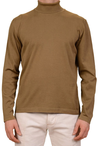 KITON Napoli Made In Italy Khaki Cotton Turtleneck Sweater NEW XXL