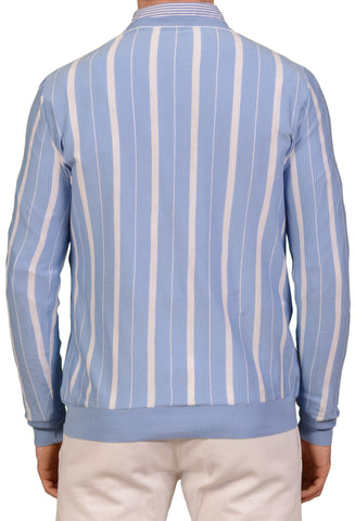 KITON Napoli Made In Italy Light Blue Striped Cotton V-Neck Sweater 50 NEW US M