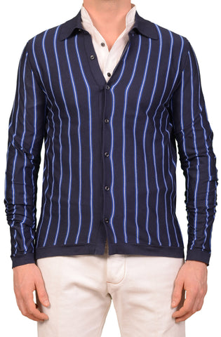 KITON Napoli Made In Italy Navy Blue Striped Cotton Cardigan Sweater 50 NEW US M