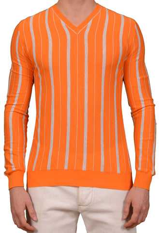 KITON Napoli Made In Italy Orange Striped Cotton V-Neck Sweater EU 50 NEW US M
