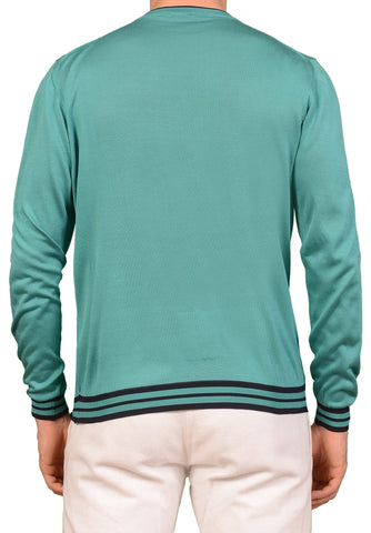 KITON Napoli Made In Italy Solid Green Silk Crewneck Sweater EU 50 NEW US M