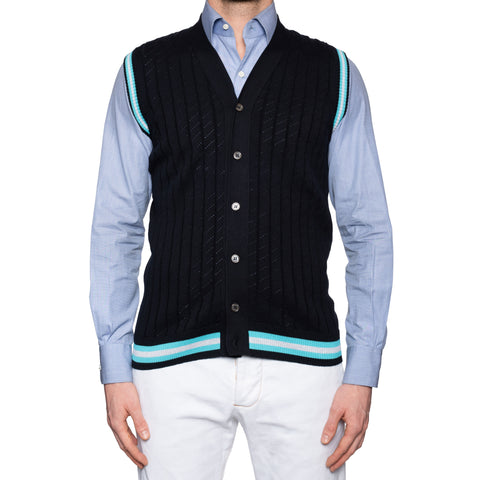 KITON Napoli Navy Blue Cotton Knit Sleeveless Cardigan Sweater Vest 50 NEW US M