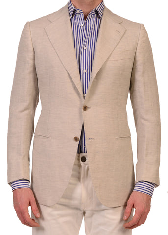 KITON Napoli Off White Cashmere-Linen Blazer Jacket US 38 NEW EU 48 R8 Slim Fit - SARTORIALE - 1
